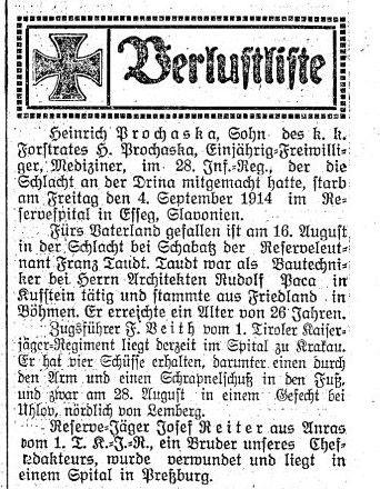 Josef Reiter aus Anras 1914 - Allgemeiner Tiroler Anzeiger, Nr. 241, Jg 7, 6. September 1914, S. 3
