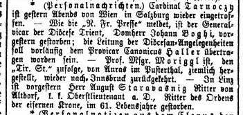 Das Vaterland, Nr. 23, Jg. 15, 23. Januar 1874, S. 3.