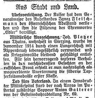 Sappeur Anton Gatterer – Tod fürs Vaterland