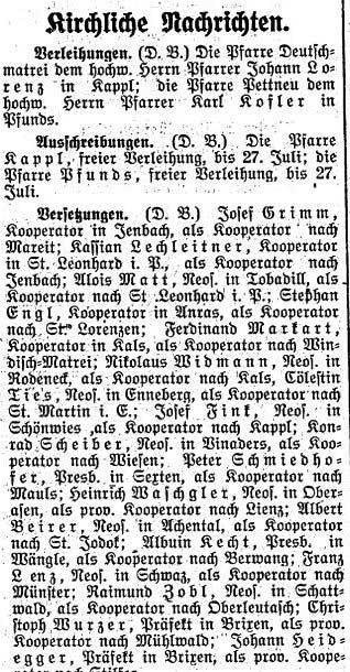 Der Tiroler, Nr. 142, Jg. 34, 24. Juni 1915, S. 6.