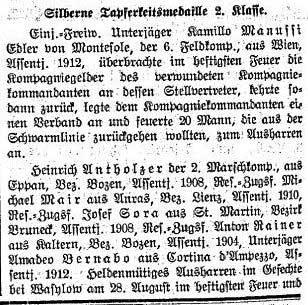 Der Tiroler, Nr. 196, Jg. 33, 17. Dezember 1914, S. 4.