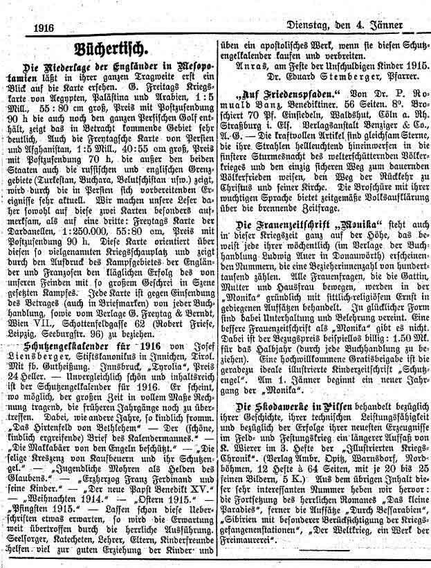 Der Tiroler, Nr. 2, Jg. 35, 4. Januar 1916, S. 5.
