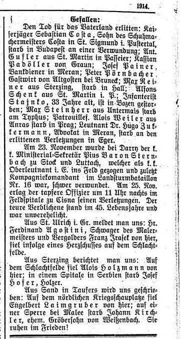 Der Tiroler, Nr. 205, Jg. 33, 30. Dezember 1914, S. 6.