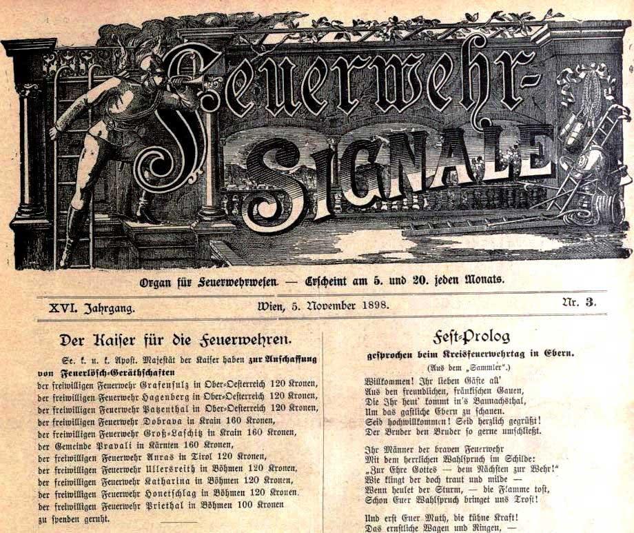 Feuerwehr-Signale, Nr. 3, Jg. 16, 5. November 1898, S. 1.
