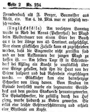 Innsbrucker Nachrichten, Nr. 234, 12. Oktober 1896, S. 2.