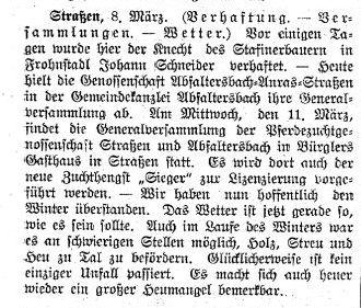 Sitzung der Genossenschaft Abfaltersbach-Anras-Strassen - Der Tiroler, Nr. 30, Jg. 33, 10. März 1914, S. 5.