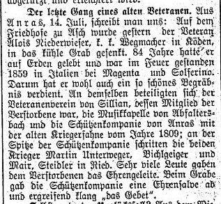 Alois Niederwieser, Veteran und Wegmacher in Köden, in Asch beigesetzt.
