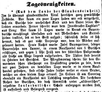 Bauernbursche meuchlings überfallen - Tages-Post, Nr. 131, Jg. 9, 8. Juni 1873, S. 2.