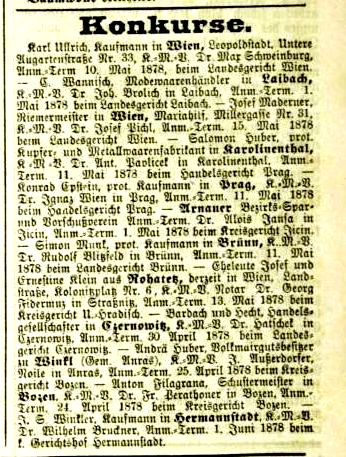Konkurs in der Fraktion Winkl - Welt Blatt, Nr. 77, 3. April 1878, S. 10.