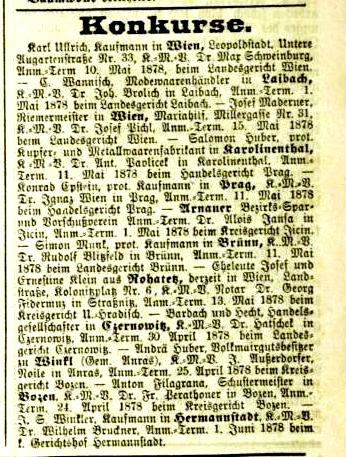 Konkurs in der Fraktion Winkl - Welt Blatt, Nr. 77, 3. April 1878, S. 10.