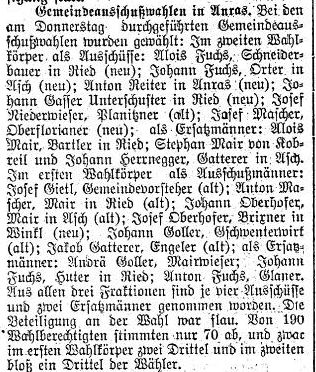 Gemeindeausschußwahlen in Anras 1914