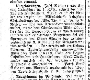 Tapferkeitsmedaille für Josef Reiter, 1916