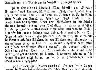 Schmuckdiebstahl in Ascher Kirche, 1867