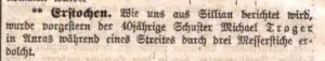 Schuster Michael Troger erdolcht, 1906