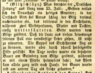 Kirchturm in Ried brennt, 1874 - Klagenfurter Zeitung, Nr. 171, 30. Juli 1874, S. 1172.